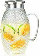2 Liters Glass Water Pitcher With Pineapple Shape And Tight Stainless Steel Lid