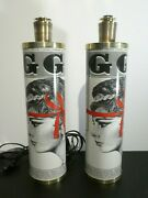 Mid Century Modern Pair Of Fornasetti Maria Pia Newspaper Table Lamps