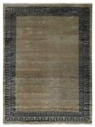 Hand Knotted Wool And Silk 6and039x9and039 Area Rug Oriental Emerson Cream Gray Pr0138