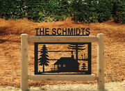 Personalized Cabins Signs - Rustic Log Cabin Decor - Outdoor Sign