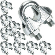 10 X 10mm Galvanised Steel Grip Clamp/clips Andndash Wire Rope Lashing Cable U Bolt Nut