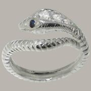 14ct White Gold Natural Diamond Sapphire Womens Band Ring - Sizes J To Z