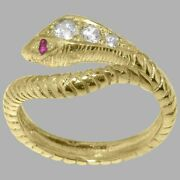 9ct Yellow Gold Natural Diamond Ruby Womens Band Ring - Sizes J To Z