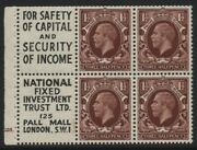 1934-6 11/2d Red Brown Photogravure Booklet Advert Pane Of Six. Sg 441e