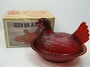 Vintage Indiana Glass Red Hen On A Nest With Original Box 2591