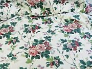 Waverly Fabric Pleasant Valley Floral On White Cotton Screen-print 56 X 180