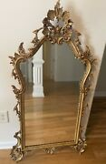 Vtg Labarge Rococo Hollywood Regency Gold Italian Hand Carved Wood Mirror 52x26