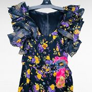 Dolce And Gabbana Silk Runway Dress Cocktail Party Midi Bejeweled Buttons Ruffle 6
