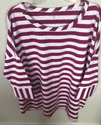Nwt Coldwater Creek Boat Stripe Tee Plus Size 3x Pink And White Stripe 3/4 Slv