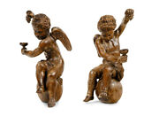 Pair Of 19th Century Monumental Hand Carved Wood Bacchanalian Angels