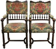 Arm Chairs Pair Antique French Henry Ii Renaissance Walnut Brocade Fabric
