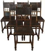 Antique Dining Chairs French Renaissance Set 6 Oak Brown Embossed Leathe