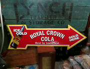 Royal Crown Cola Rc Embossed Metal Arrow Advertising Sign 27 X 9 Exc Condition
