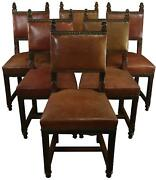 Antique Dining Chairs Gothic Set 6 Caramel Brown Tan Leather Oak Wood
