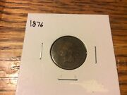 Vintage 1876 Indian Head Cent Penny scarce Rare Date details