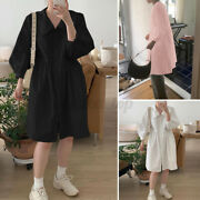 Women's Collared Button Up Oversized Loose Solid Long Midi Shirt Dress Plus Size