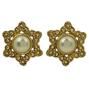 Pearl Earring Coco Mark Cc Gp Gold Women And039s Previously Owned No.4941