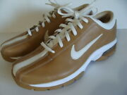 Nike Air Golf Shoes Giddy Up 307422-211 Women's Leather Golf Tan White Size 6.5