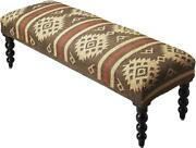 Bench Traditional Antique Round Legs Taos Distressed Wool Jute Upholstery