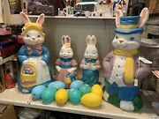 Vintage General Foam Easter Bunny Family Blow Molds 3ft Tall Large + Eggs