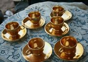 Fleetwood, 22k Gold 4 Cups And Saucers, Demitasse Size, Flower Pattern In Gold