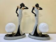 Vintage Glamour Girl Table Lamps - Art Deco