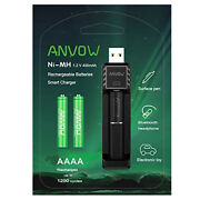 Anvow Smart Aaaa Battery Charger 2 Counts Rechargeable Aaaa Batteries
