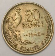 1952 France French 20 Francs Rooster Coin Xf