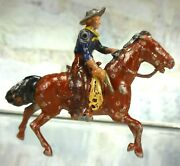 Vintage Britains Lead Toy Wild West Mounted Cowboy W/movable Arm As Is 2
