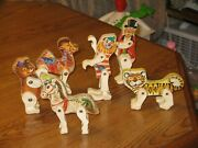 6 Vintage 1960's Fisher Price Toy Circus Play Set Figures Animals And Ring Master