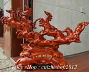 24 Old Chinese Redwood Carving Handwork Zodiac Year 8 Horse Statue Sculpture