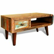 Hantique Coffee Table Rustic Reclaimed Wood Living Room Furniture Curved Edge