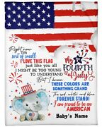 My First July 4th Elephant With Flag Fleece Blanket Baby Blanket