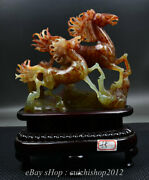 12 Chinese Natural Xiu Jade Jadeite Carved Feng Shui 2 Horse Run Lucky Statue