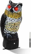 Solar Powered Owl, Tall Motion Activated Scarecrow Deterrent With Flashing Eyes