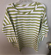Nwt Coldwater Creek Boat Stripe Tee Plus Size 2x Green And White Stripe 3/4 Slv