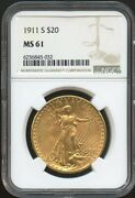 1911 S 20 Saint Gaudens Gold Double Eagle Ms 61 Ngc, Great Surfaces Pq