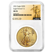 2021 50 Type 2 American Gold Eagle 1 Oz. Ngc Ms70 Als Label