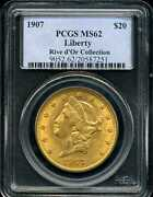 1907 20 Liberty Head Gold Double Eagle Ms62 Pcgs 20587251 Rive Dand039or Collection