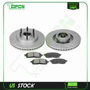 Front Ceramic Brake Pads And Rotors Drilled And Slotted For 04-08 Ford F-150 4.6l