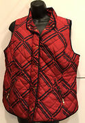 Ladies Crownandivy Vest Size Large Full Zip And Snap Closure Red With Navy Trim