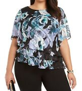 Alex Evenings Womenand039s Blouse Blue Size 2x Plus Tiered Floral Print 129 223