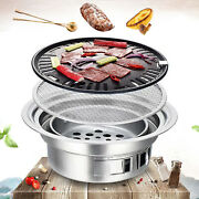 Bbq Grill Kit Charcoal Barbecue Stove Stainless Cooker Camping For 1-5 People Us
