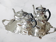 Rogers Bros Footed Silver Coffee Tea Creamer Service W Daffodil And Tray 4 Pieces