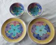 Caleca Pottery Caa21 Dinner Plates And Bowls - Floral Pastels - Rare- 4 Pieces