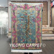 Yilong 2.7and039x4and039 Blue Tree Of Life Handmade Silk Area Rug Home Decor Carpets 528a
