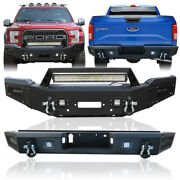 Front + Rear Bumper W/winch Plate + Led Light Fit 18-20 Ford F150except Raptor