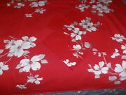 Vintage Wilendur Tablecloth Red White Dogwood 48 X 54 With 4 Napkins