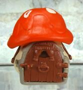 Vintage Smurf 1978 Red Roof Mushroom House Cottage Peyo Schleich Hong Kong