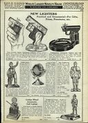1933 Paper Ad Novelty Cigar Table Lighters Globe Paper Weight Golden Wheel ++